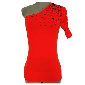 Bedo Poppy Red Beaded Top Size S